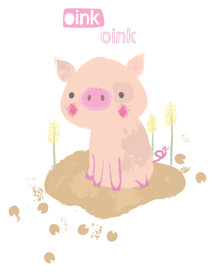 oink oink pig illustration